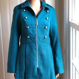 Decree Military Peacoat Pleated Brass Teal Size S